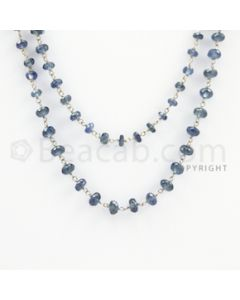 3.50 to 5.20 mm - 1 Line - Blue Sapphire Faceted Beads Gold Wire Wrap Necklace - 40 inches (GWWCS1097)