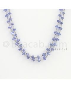 4.00 to 6.00 mm - 1 Line - Tanzanite Faceted Beads Gold Wire Wrap Necklace - 40 inches (GWWCS1112)