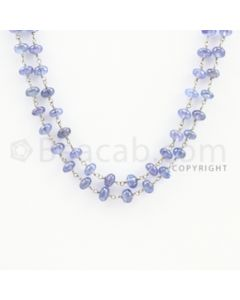 4.60 to 5.60 mm - 1 Line - Tanzanite Smooth Beads Gold Wire Wrap Necklace - 40 inches (GWWCS1113)