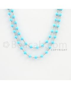 3.80 to 4.20 mm - 1 Line - Turquoise Smooth Beads Gold Wire Wrap Necklace - 40 inches (GWWCS1116)