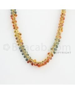 4.50 mm - 1 Line - Multi-Sapphire Drop Beads Gold Wire Wrap Necklace - 20 inches (GWWCS1120)