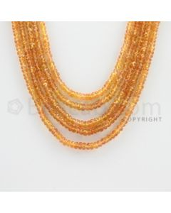 3.00 to 4.00 mm - 4 Lines - Orange Sapphire Faceted Beads - 13 to 16 inches (OSFB1003)