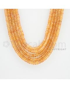 2.50 to 4.00 mm - 5 Lines - Orange Sapphire Faceted Beads - 19 to 21 inches (OSFB1005)