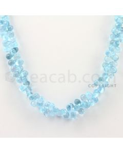 7.40 to 7.70 mm - 1 Line - Blue Topaz Drop Beads - 17 inches (BT1001)