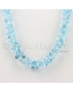 8.40 to 8.50 mm - 1 Line - Blue Topaz Drop Beads - 17 inches (BT1002)