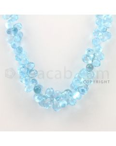 6.50 to 11.40 mm - 1 Line - Blue Topaz Drop Beads - 17 inches (BT1005)