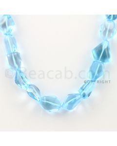 17.00 to 20.00 mm - 1 Line - Blue Topaz Tumbled Beads - 14 inches (BTTuB1002)