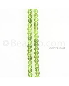 4.80 to 5.00 mm - 2 Lines - Peridot Smooth Beads - 14.75 inches (PSB1003)