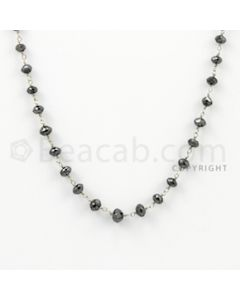 3.30 to 5.00 mm - 1 Line - Black Diamond Faceted Beads Wire Wrap Necklace - 18 inches (GWWD1004)