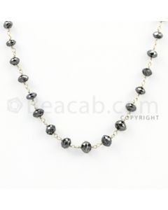 3.20 to 5.00 mm - 1 Line - Black Diamond Faceted Beads Wire Wrap Necklace - 18 inches (GWWD1009)