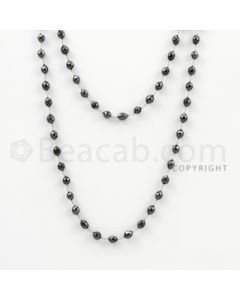 5.00 to 5.50 mm - 1 Line - Black Diamond Drum Beads Wire Wrap Necklace - 40 inches (GWWD1015)
