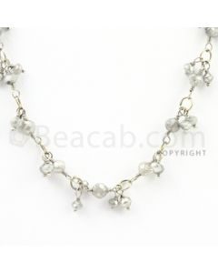 2.50 to 3.50 mm - 1 Line - Gray Diamond Faceted Beads Wire Wrap Necklace - 18 inches (GWWD1025)