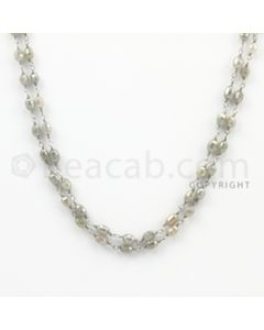 3.40 to 6.40 mm - 1 Line - Gray Diamond Drum Beads Wire Wrap Necklace - 40 inches (GWWD1036)