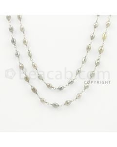 3.50 to 5.20 mm - 1 Line - Gray Diamond Drum Beads Wire Wrap Necklace - 39 inches (GWWD1038)