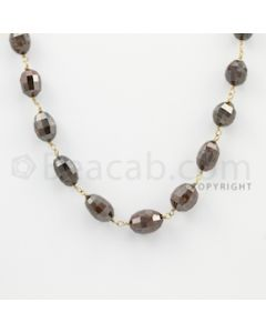 6.30 to 11.00 mm - 1 Line - Brown Diamond Drum Beads Wire Wrap Necklace - 18 inches (GWWD1057)