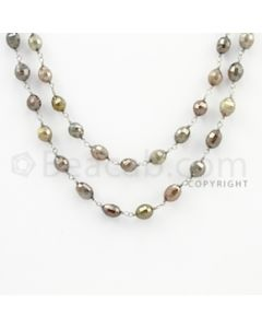 5.00 to 7.50 mm - 1 Line - Fancy Diamond Drum Beads Wire Wrap Necklace - 40 inches (GWWD1079)