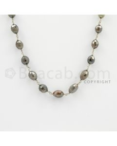 3.70 to 8.50 mm - 1 Line - Fancy Diamond Drum Beads Wire Wrap Necklace - 24 inches (GWWD1082)