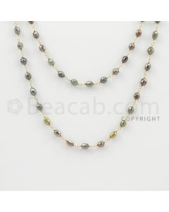 3.20 to 4.50 mm - 1 Line - Fancy Diamond Drum Beads Wire Wrap Necklace - 40 inches (GWWD1083)