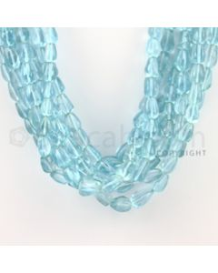 8.50 to 11.00 mm - 8 Lines - Blue Topaz Tumbled Beads - 16 inches (BTTuB1006)