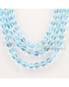 5.00 to 8.00 mm - 3 Lines - Blue Topaz Faceted Beads - 16 to 19 inches (BT1010)