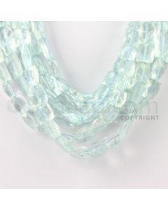 9.00 to 15.00 mm - 8 Lines - Aquamarine Faceted Rectangle Beads - 14 inches (AqFReB1001)