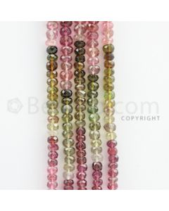 3.00 to 4.50 mm - 5 Lines - Tourmaline Faceted Beads - 17 inches (MuToFB1035)