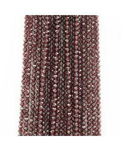4 mm - 20 Lines - Garnet Gemstone Faceted Beads - 1273.00 carats (GarnB1003)