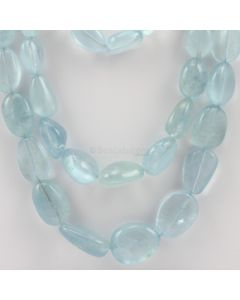11 to 22 mm - 3 Lines - Aquamarine Gemstone Tumbled Beads - 1108.00 carats (AqTuB1027)