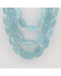 19 to 23 mm - 3 Lines - Aquamarine Gemstone Tumbled Beads - 872.00 carats (AqTuB1041)