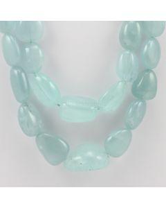 14 to 32 mm - 2 Lines - Aquamarine Gemstone Tumbled Beads - 1030.00 carats (AqTuB1052)