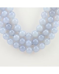 10 to 10.50 mm - 3 Lines - Chalcedony Gemstone Smooth Beads - 886.00 carats (ChalSmB1001)