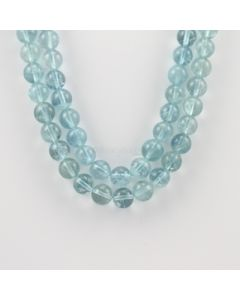 9.50 to 10 mm - 2 Lines - Aquamarine Gemstone Smooth Beads - 542.11 carats (AqSB1004)