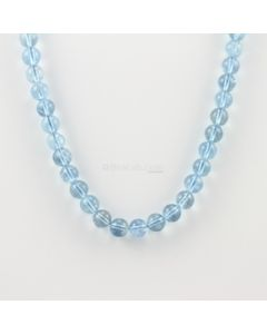 8 to 8.40 mm - 1 Line - Aquamarine Gemstone Smooth Beads - 187.00 carats (AqSB1007)