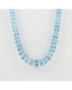 7 to 12.50 mm - 1 Line - Aquamarine Gemstone Smooth Beads - 280.00 carats (AqSB1009)