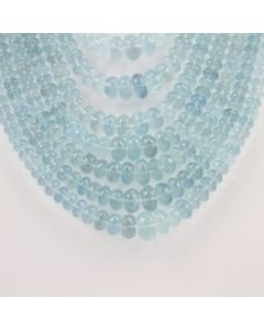 4.90 to 13.90 mm - 9 Lines - Aquamarine Gemstone Faceted Beads - 1866.00 carats (AqFRoB1003)