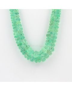 4.80 to 10 mm - 2 Lines - Emerald Gemstone Carved Beads - 302.00 carats (EmCarB1004)