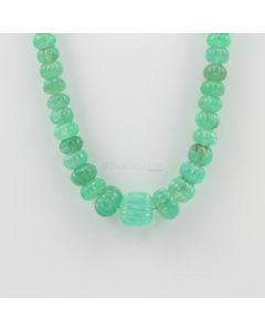 6.50 to 14 mm - 1 Line - Emerald Gemstone Carved Beads - 265.19 carats (EmCarB1007)