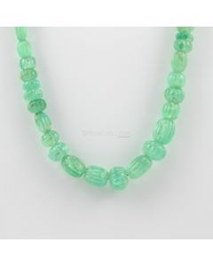 6 to 13.50 mm - 1 Line - Emerald Gemstone Carved Beads - 207.00 carats (EmCarB1012) -OOS