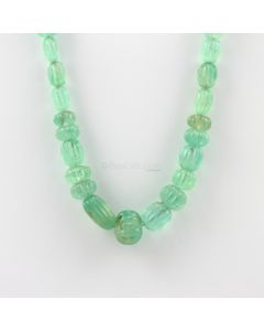 8.50 to 16.50 mm - 1 Line - Emerald Gemstone Carved Beads - 261.00 carats (EmCarB1011) -OOS