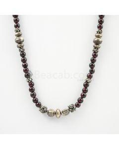 5.50 to 6 mm - Dark Purple Garnet Smooth Necklace - 208.65 carats (CSNKL1151)