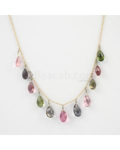 8.30 to 9 mm - Dark Tones Tourmaline Drop Necklace - 22.29 carats (GDNKL1003)
