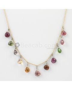 6 mm - Medium Tones Tourmaline Drop Necklace - 16.99 carats (GDNKL1004)
