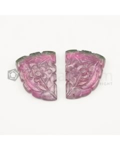 34 x 27 mm - Watermelon (Bi-Color) Tourmaline Carving - 101.00 carats (ToCarv1005)