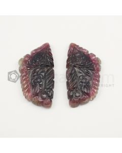 45 x 22 mm - Watermelon (Bi-Color) Tourmaline Carving - 102.00 carats (ToCarv1027)