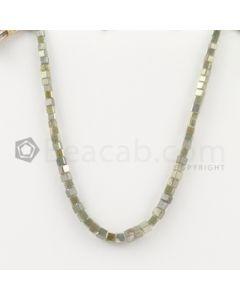 2.80 to 3.20 mm - Medium Tones Diamond Cube Beads - 7.25 inches - 25.00 carats (FncyDiaCu1038)