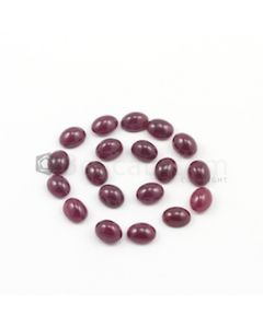 9 x 7 mm - Dark Red Oval Ruby Cabochons - 19 pieces - 55.54 carats (RuCab1045)
