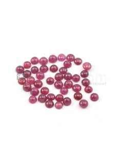 4.80 to 5.20 mm - Medium Red Round Ruby Cabochons - 43 pieces - 27.92 carats (RuCab1052)
