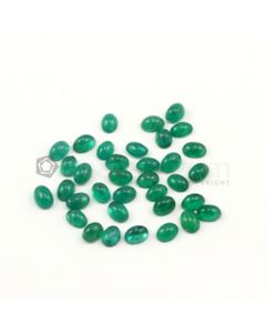 7 x 5 mm - Medium Green Oval Emerald Cabochons - 35 pieces - 29.04 carats (EmCab1003)