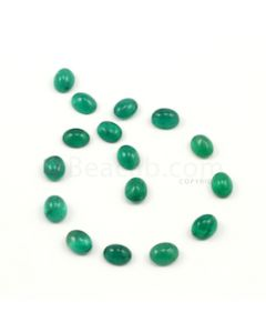 9 x 7 mm - Medium Green Oval Emerald Cabochons - 16 pieces - 30.14 carats (EmCab1009)