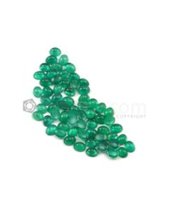 5 x 4 mm - Medium Green Oval Emerald Cabochons - 63 pieces - 22.97 carats (EmCab1017)